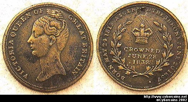 England, 1838, brass. Queen Victoria crowned