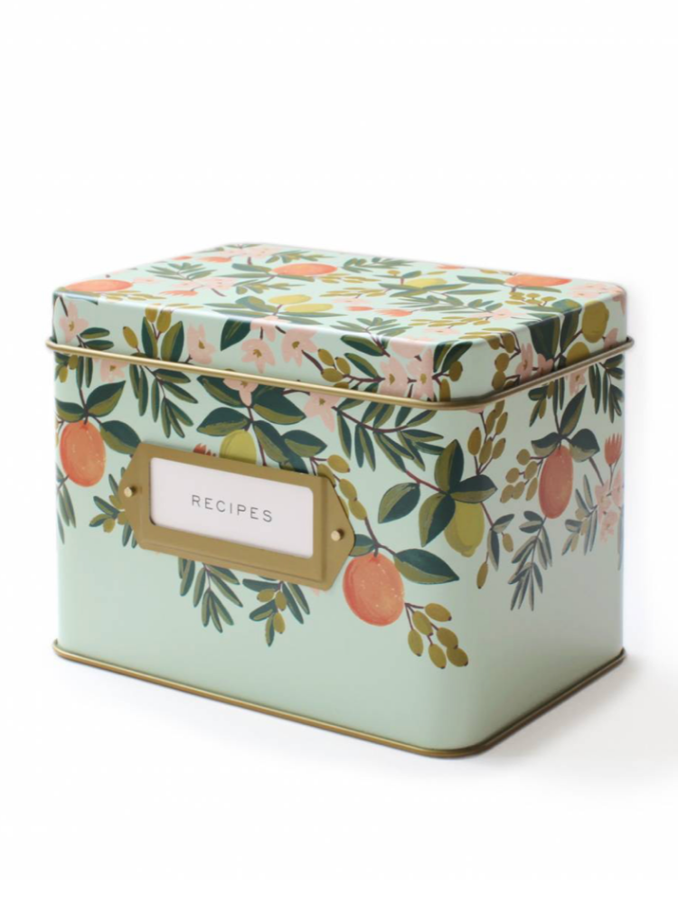 Citrus Floral Tin Recipe Box