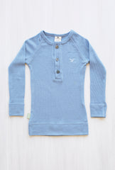 blue organic merino long sleeve top