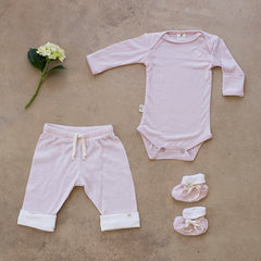 pink organic merino bodysuit and drawstring pants
