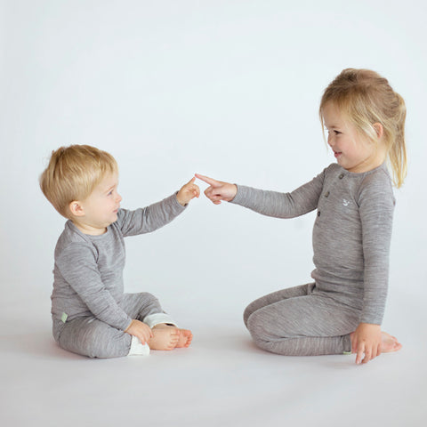 two kids in grey merino top and leggings