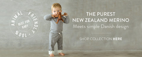 baby boy in grey merino top and leggings