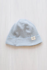striped blue organic merino beanie