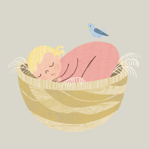 sleeping newborn illustration