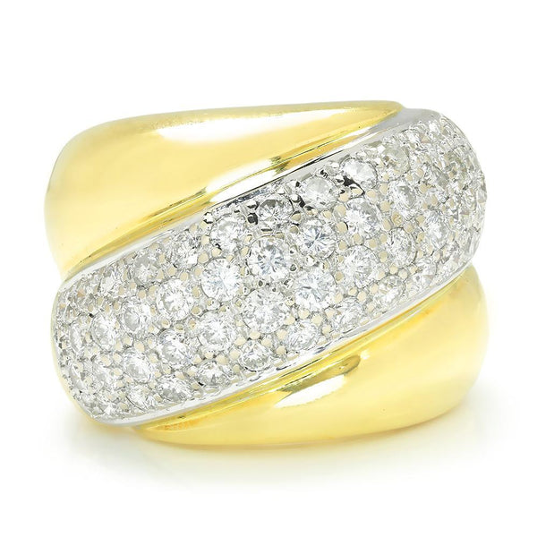 Once Upon A Diamond Band White & Yellow Gold Vintage Diamond Shrimp Ring 18K Two Tone Gold 3.00ctw
