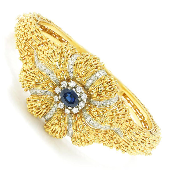 Once Upon A Diamond Bracelet White & Yellow Gold Vintage Certified NO HEAT Sapphire & Diamond Bangle