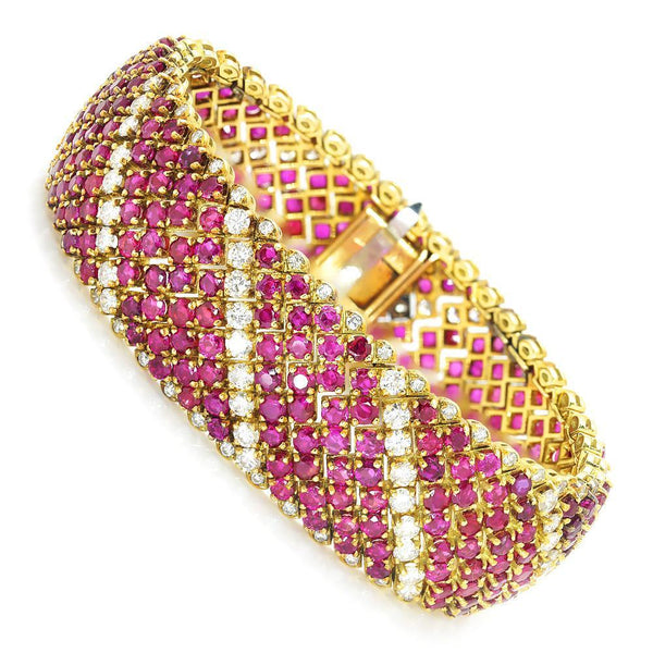 Once Upon A Diamond Bracelet Yellow Gold Vintage Ruby Bracelet with Diamonds 18K Yellow Gold 33.00ctw