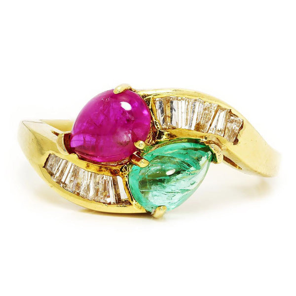 Once Upon A Diamond Ring Vintage Cabochon Emerald Ruby Ring with Diamonds in 18kt Yellow Gold 2.58ctw