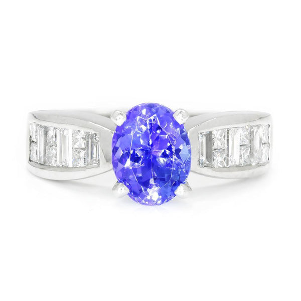 Once Upon A Diamond Ring White Gold Oval Tanzanite Ring with Diamonds 18K White Gold 2.00ctw
