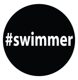 #swimmer Colored Round Decal - Black