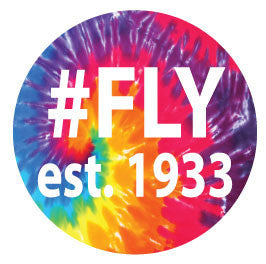 #FLY est. 1933 Round Decal - Tie-Dye