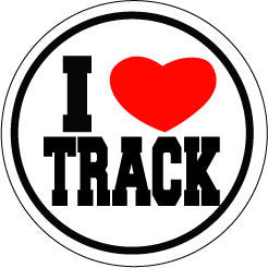I Heart Track Round Decal