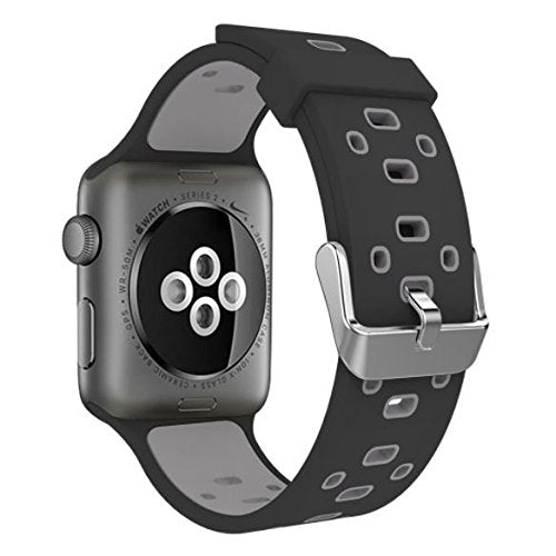 Apple Watch Silicone Band (Double Color - Black and Gray)