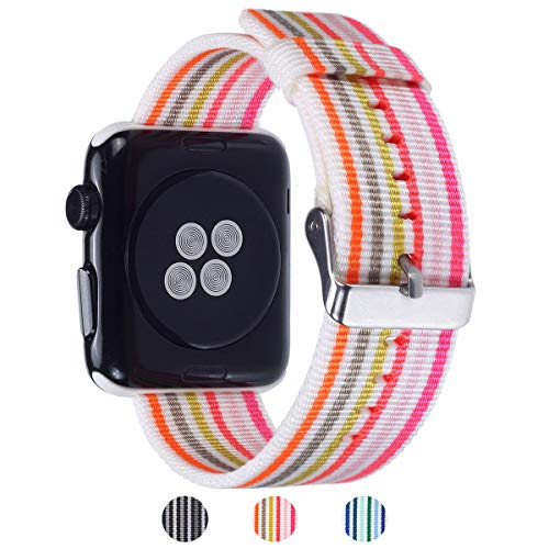 Apple Watch Band - Nylon Stripe - Compatible with Series 4 3 2 1 (Thin Rainbow)