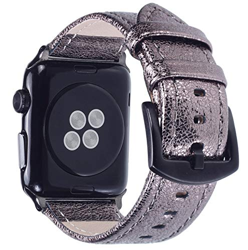 Apple Watch Band - Shiny Leather Bands for Women - Series 4 3 2 1 (Shiny Plum)