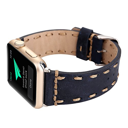Genuine Leather Apple Watch Band (Side Stitch Blue)