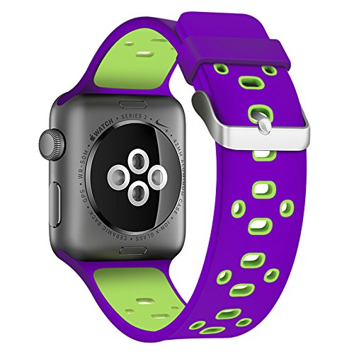 Apple Watch Silicone Band (Purple with Green)