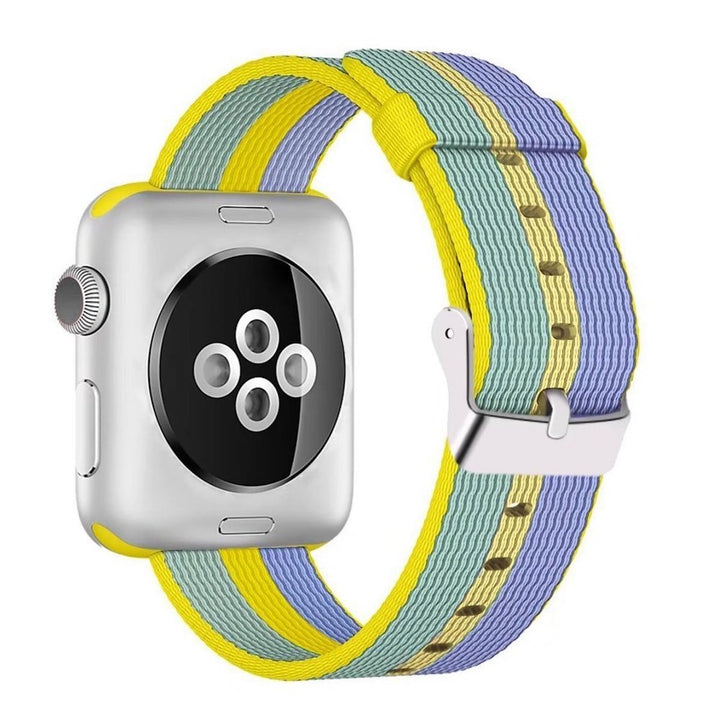 Nylon Apple Watch Band (Stripe, Yellow and Blue)
