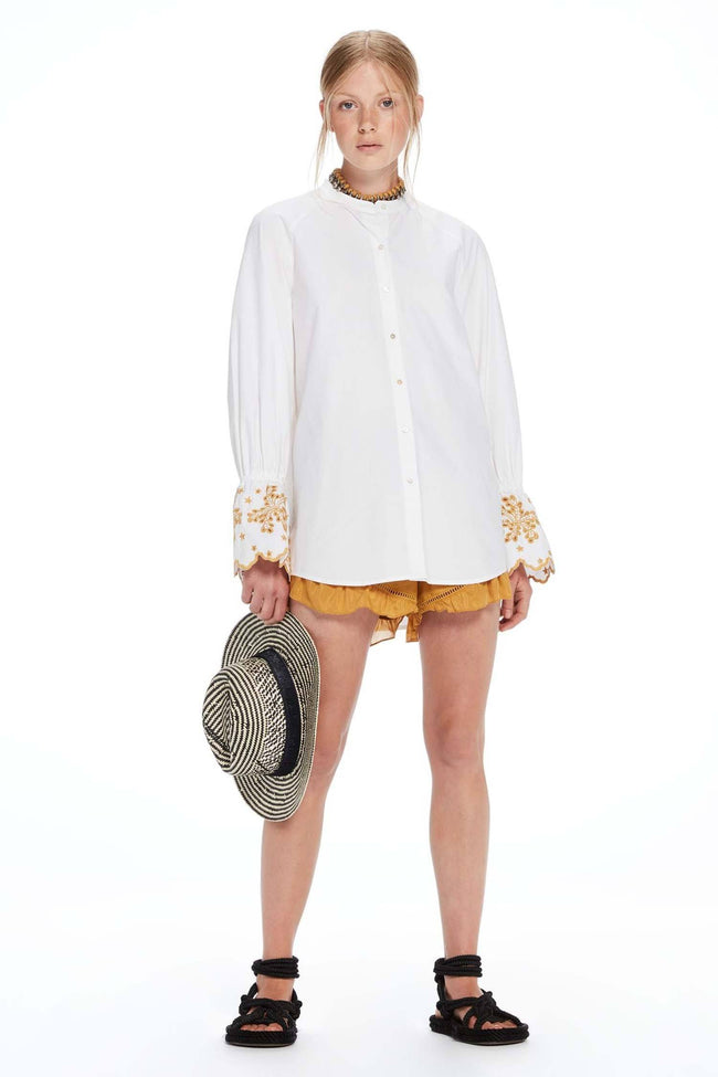 Oversized Fit Button Up Shirt in White