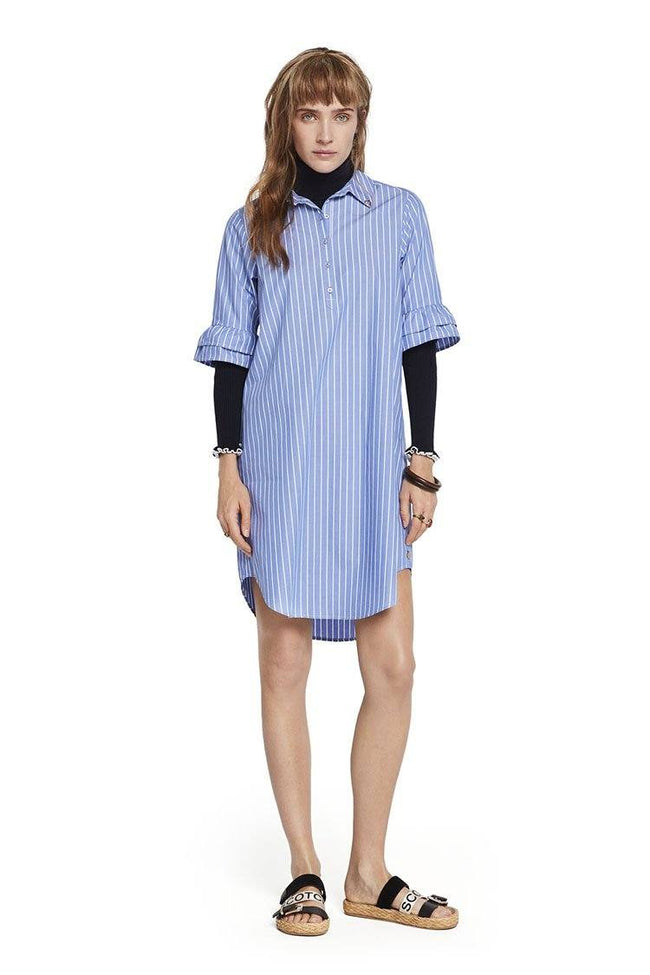 Ruffled Sleeve Shirt Dress
