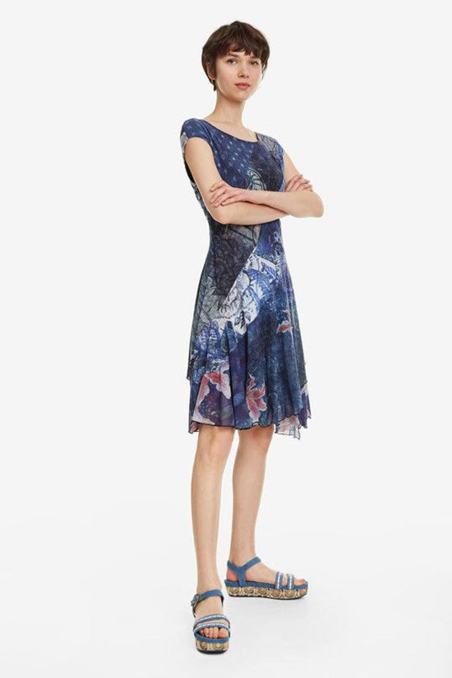 Osages Blue Scarf Print Dress
