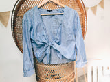 Tie Up Boyfriend Shirt - VintageChameleon