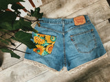 Bohemian Sunflower Patch Shorts - VintageChameleon
