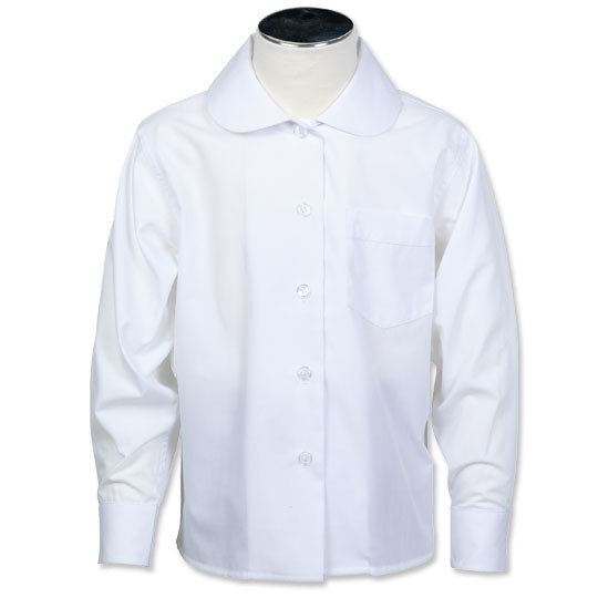 Girls white, long-sleeve, button up shirt (Peter Pan collar)