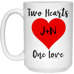 Personalized Two Hearts One Love Mug
