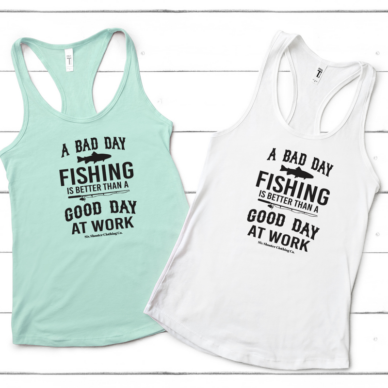 Women's Bad Day Fishing Racerback Tank