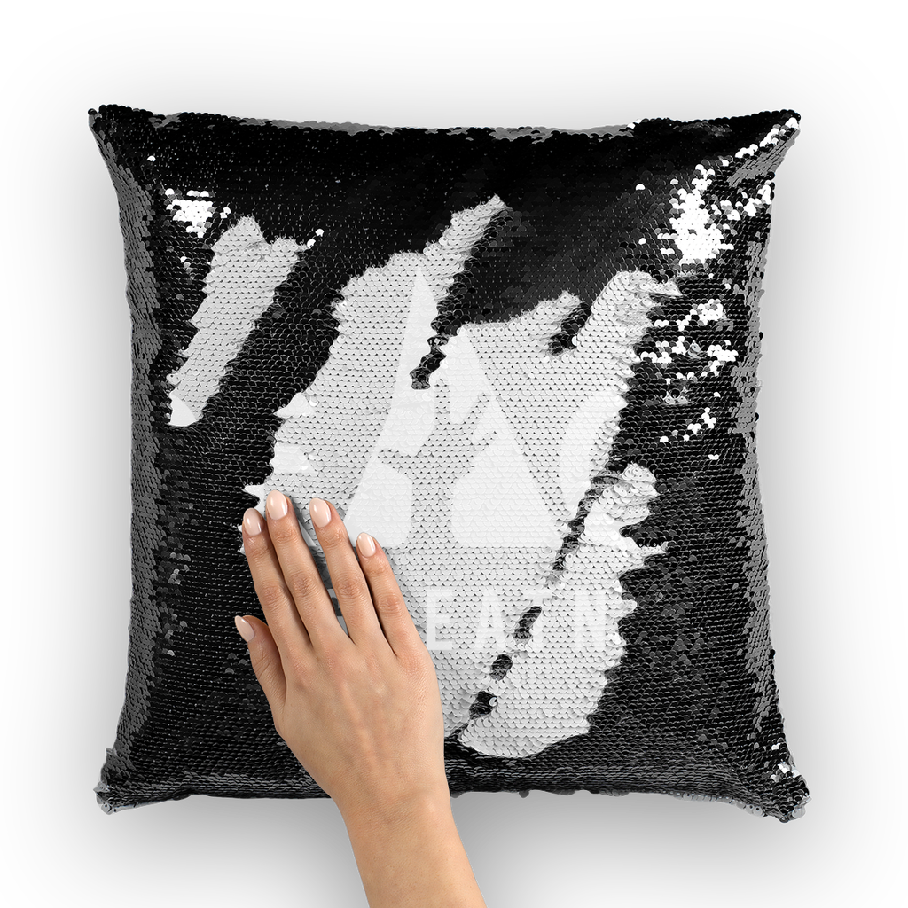 greatness logo white Sequin Cushion Cover