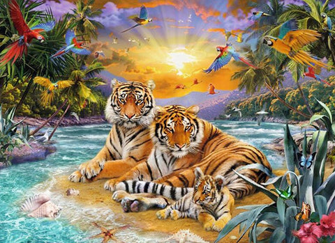 5D Diamond Painting Tigers Family