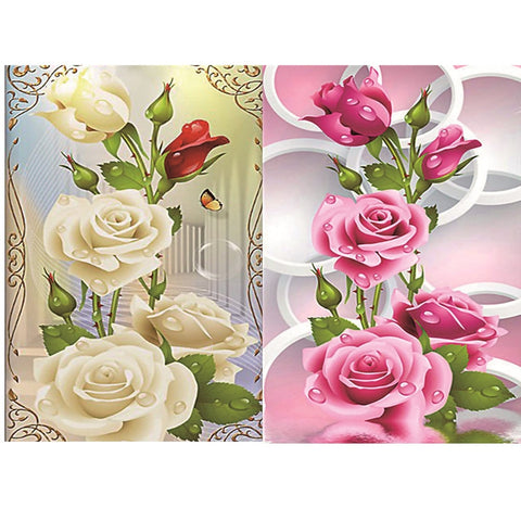5D Diamond Painting White Pink Rose Flowers