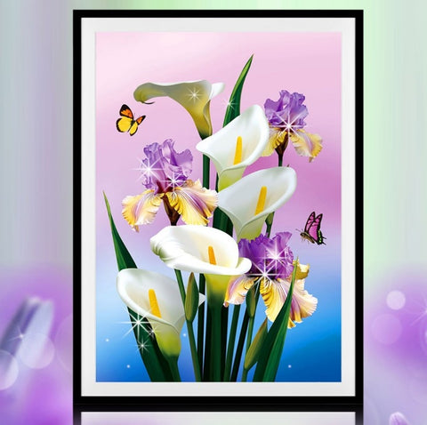 5D Diamond Painting Flowers White Calla Lily