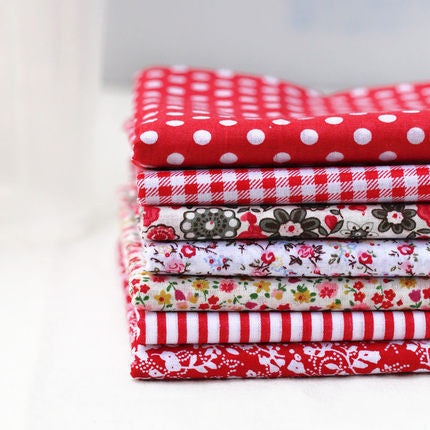 7 Piece Lot Patchwork Fabric (10″X10″) Red Collection