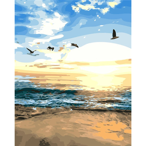 Frameless  Oil Paint Painting by Numbers Sea Birds