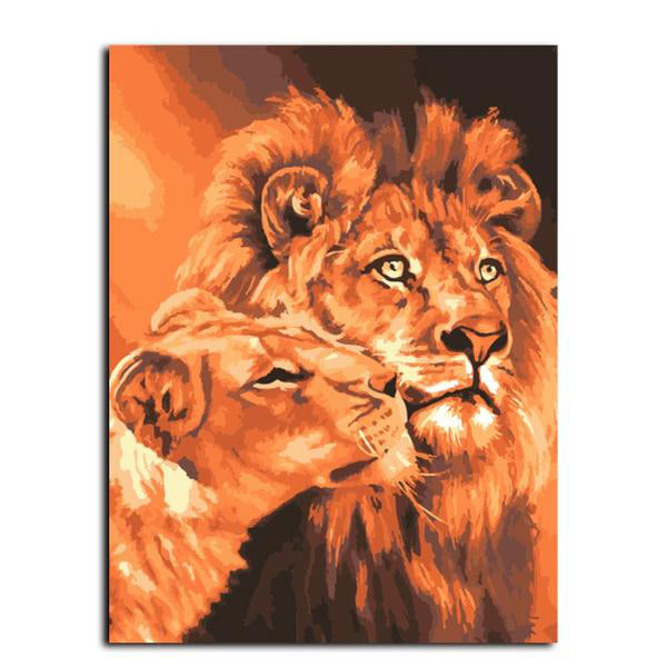 Frameless Lion Kings Oil Painting By Numbers Kits