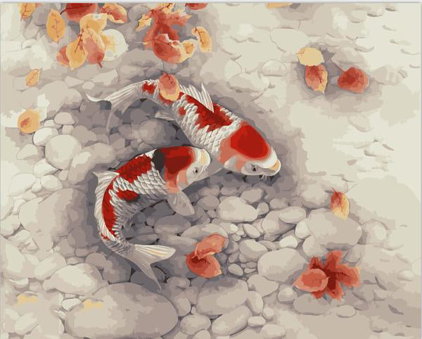 "Paint by Numbers (16"" x 20"") Koi Fish Decor"