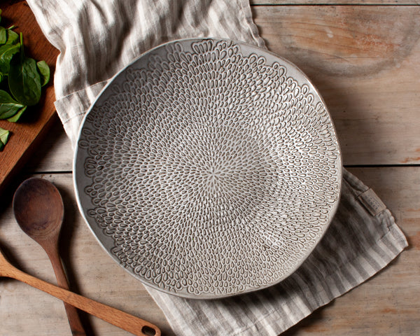 Petal Collection Large Serving Bowl Handmade Organic Stoneware Ceramic Textured Pottery Salad Dish