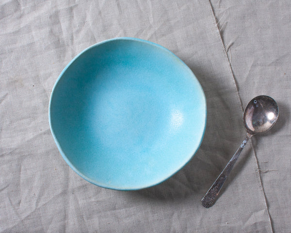 Aqua Matte Soup Bowl Handmade Organic Stoneware Ceramic Pottery Dinnerware for Soup Salad or Cereal