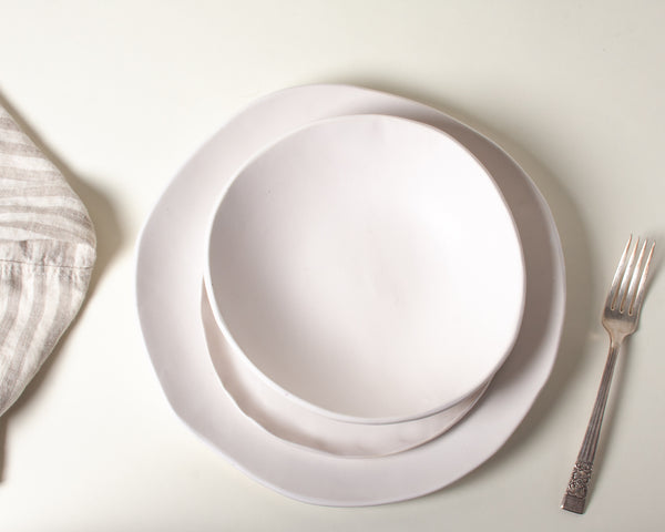 White Matte Dinnerware Set