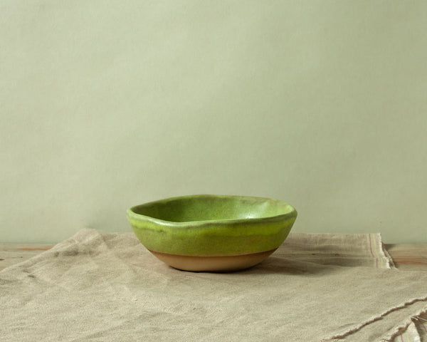 Vintage Inspired Ice Cream Bowl in Moss Green Handmade Organic Stoneware Ceramic Pottery