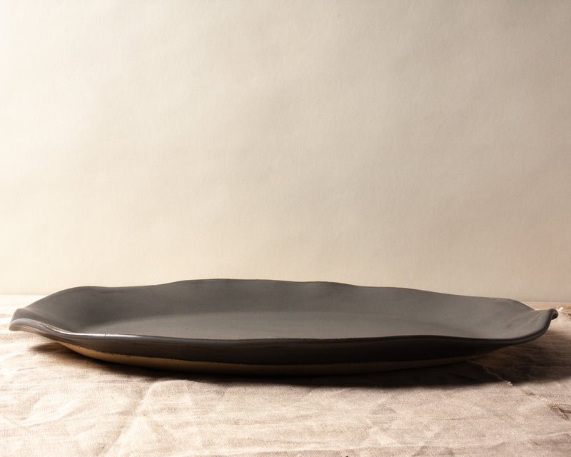 Charcoal Shino Large Oval Platter