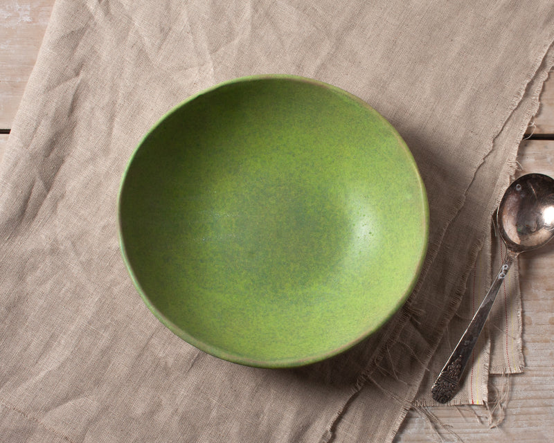 Vintage Inspired Soup Bowl in Moss Green Handmade Organic Stoneware Ceramic Pottery Dinnerware for Soup Salad or Cereal