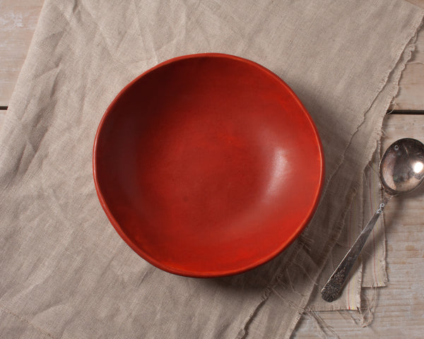 Vintage Inspired Soup Bowl in Rust Red Handmade Organic Stoneware Ceramic Pottery Dinnerware for Soup Salad or Cereal