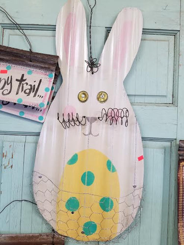 Easter Bunny with Wire Basket