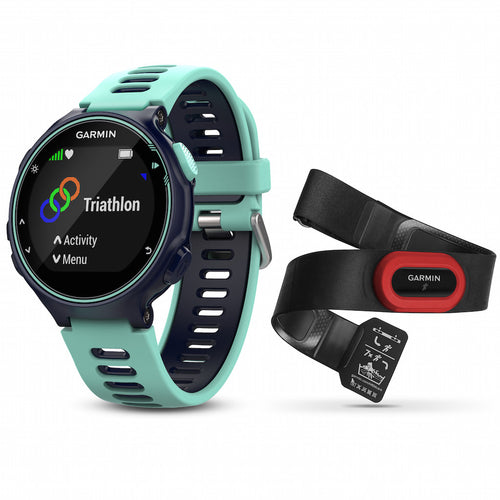 Garmin Forerunner 735XT  Midnight blue color with silicone band and black performer bundle