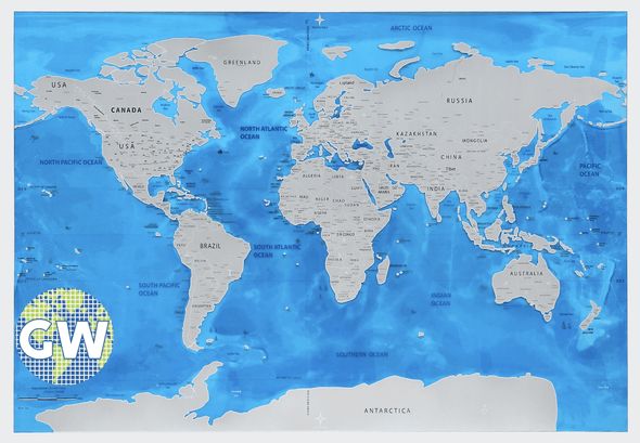Globetrotter Scratchable World Map - Silver Oceans Edition