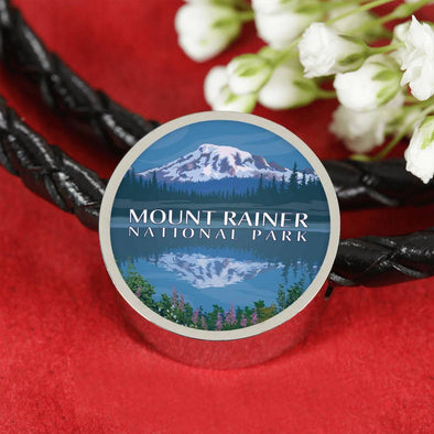 US NATIONAL PARK LEATHER CHARM BRACELET - MOUNT RAINER NATIONAL PARK
