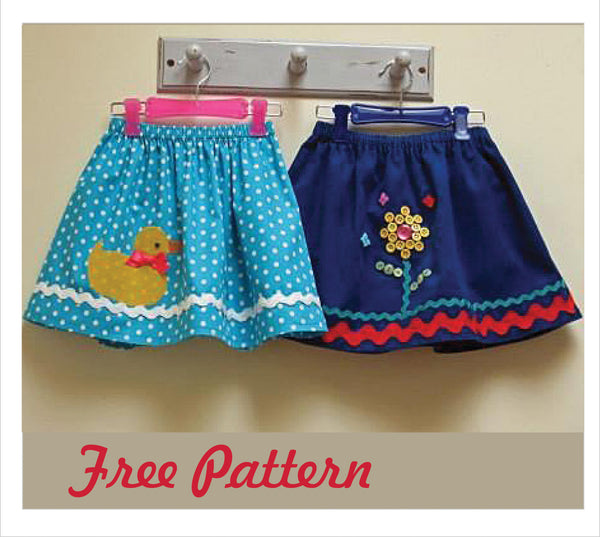 Z FREE PATTERN -- Duckie Skirt Pattern & 2 Appliques - Felicity Sewing Patterns